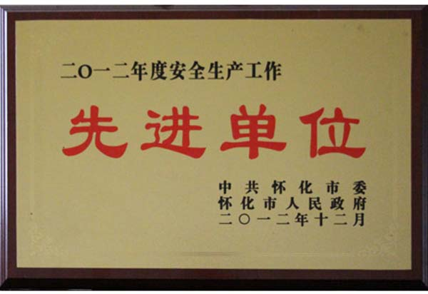 2012年度安全生产工作先进单位